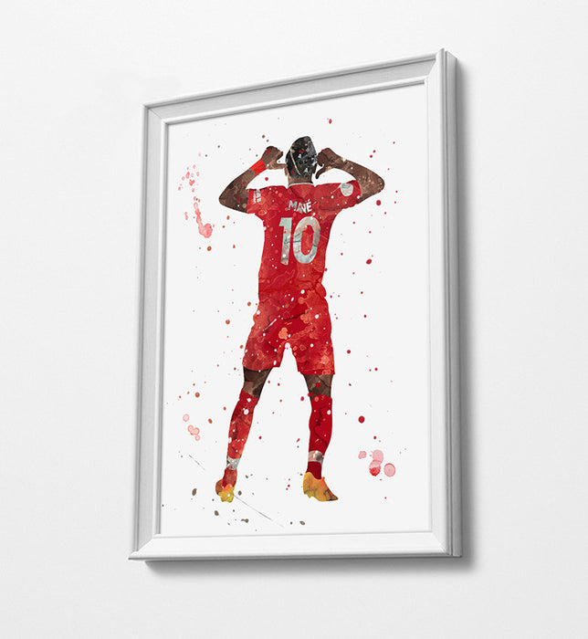 Sadio #10  Minimalist Watercolor Art Print Poster Gift Idea For Him Or Her | Football | Soccer