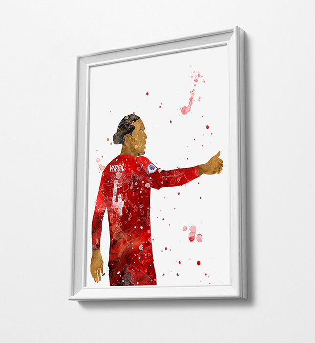Virgil Minimalist Watercolor Art Print Poster Gift Idea For Him Or Her | Football | Soccer