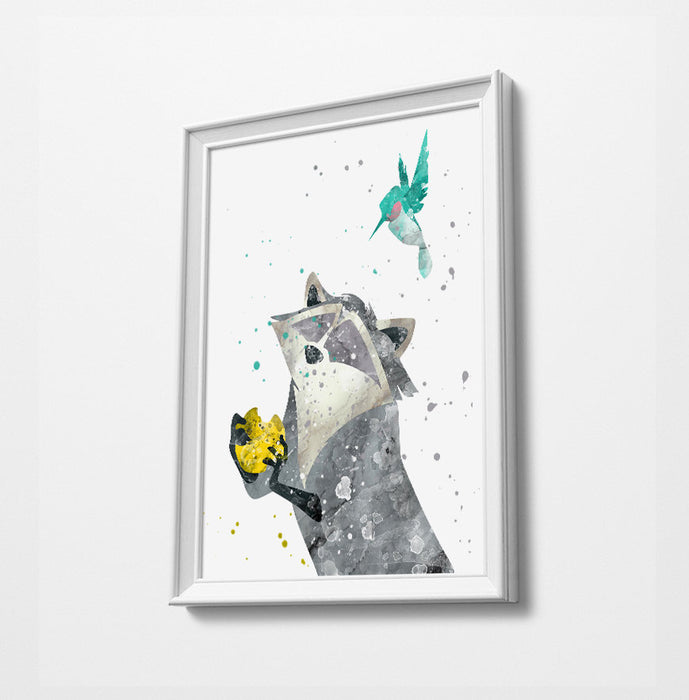 Pocahontas Racoon & Bird | Minimalist Watercolor Art Print Poster Gift Idea For Him Or Her | Nursery Art |