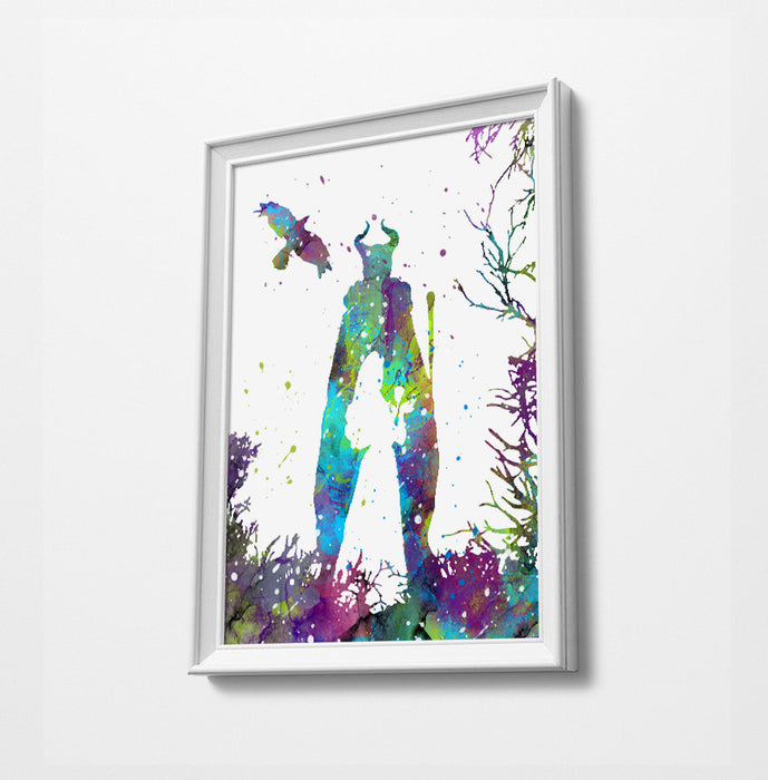 Maleficent | Minimalist Watercolor Art Print Poster Gift Idea For Him Or Her | Disney Prints