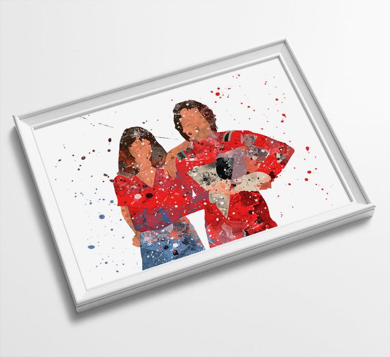 Mork + Mindy | Minimalist Watercolor Art Print Poster Gift Idea For Him Or Her | Tv Comedy