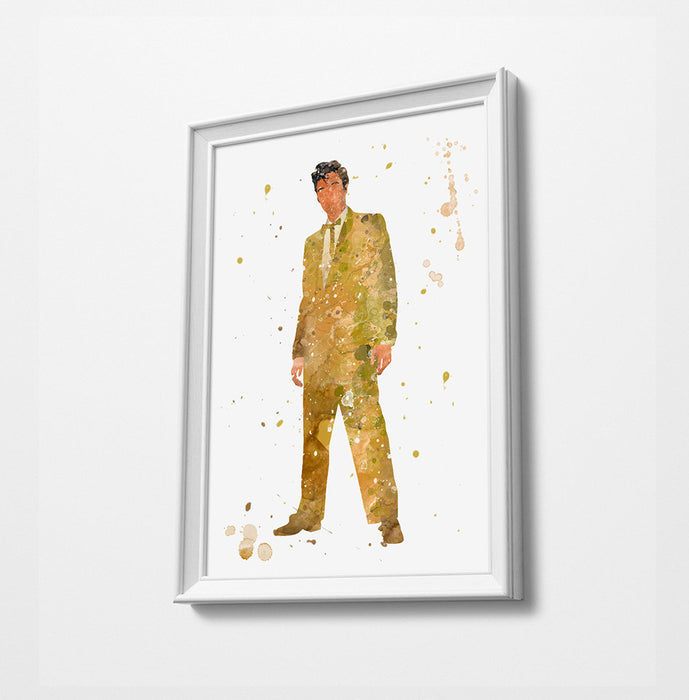 Elvis(Music) Gold Suit | Minimalist Watercolor Art Print Poster Gift Idea For Him Or Her Music Poster