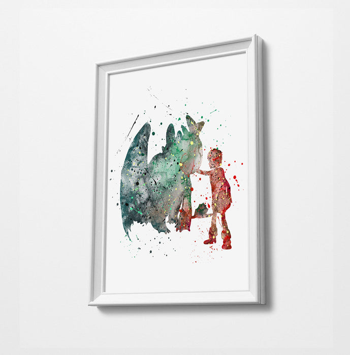 Dragon | Minimalist Watercolor Art Print Poster Gift Idea For Him Or Her | Nursery Art |