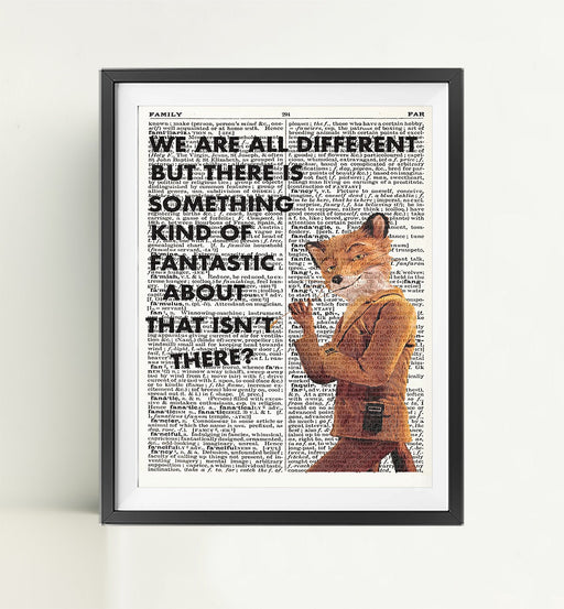 Mr Fox Dictionary Art Print Poster Page Quote | Nursery Art | Vintage Poster | Gift for her | Gift for Mum