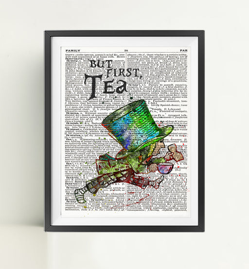 Hatter Tea | Alice in Wonderland | Dictionary Art Print Poster Page Quote | Nursery Art | Vintage Poster | Gift for her | Gift for Mum