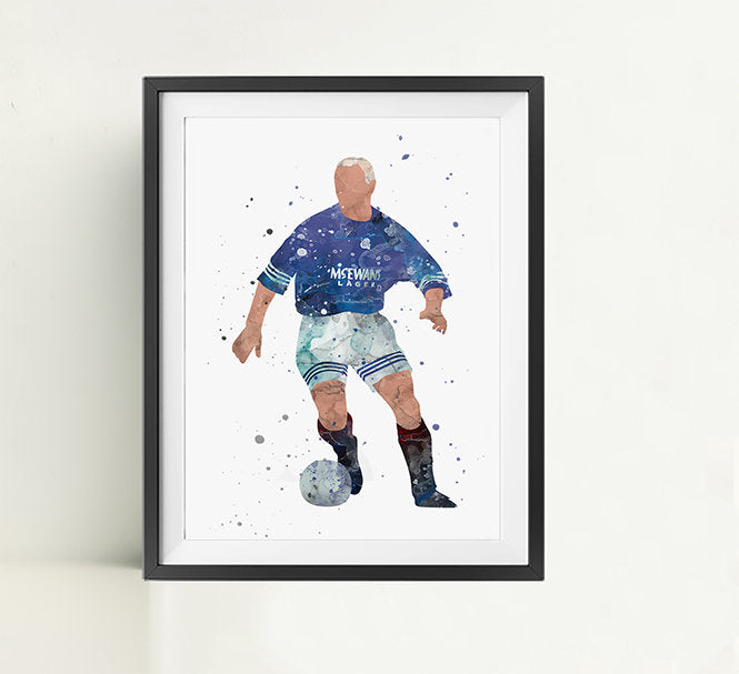 Gazza Minimalist Watercolor Art Print Poster Gift Idea For Him Or Her | Football | Soccer