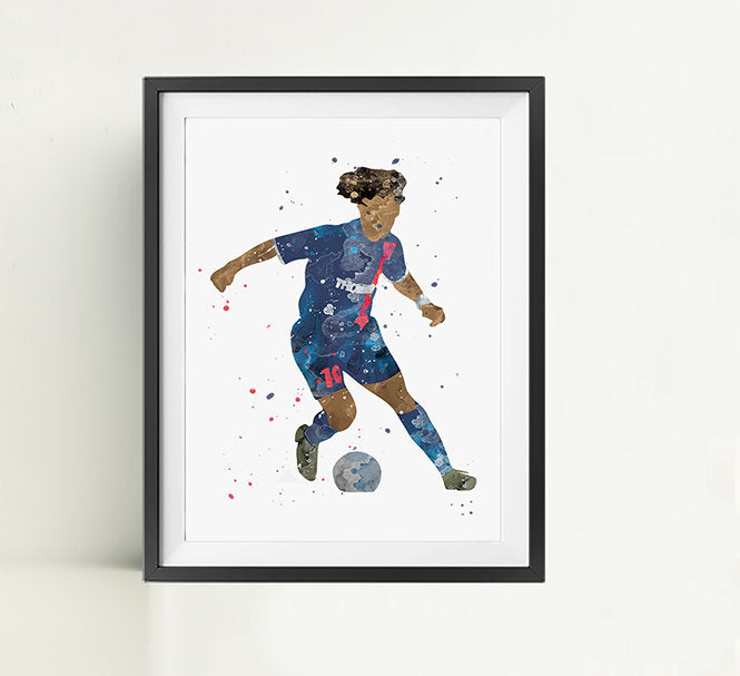Minimalist Watercolor Art Print Poster Gift Idea For Him Or Her | Football | Soccer
