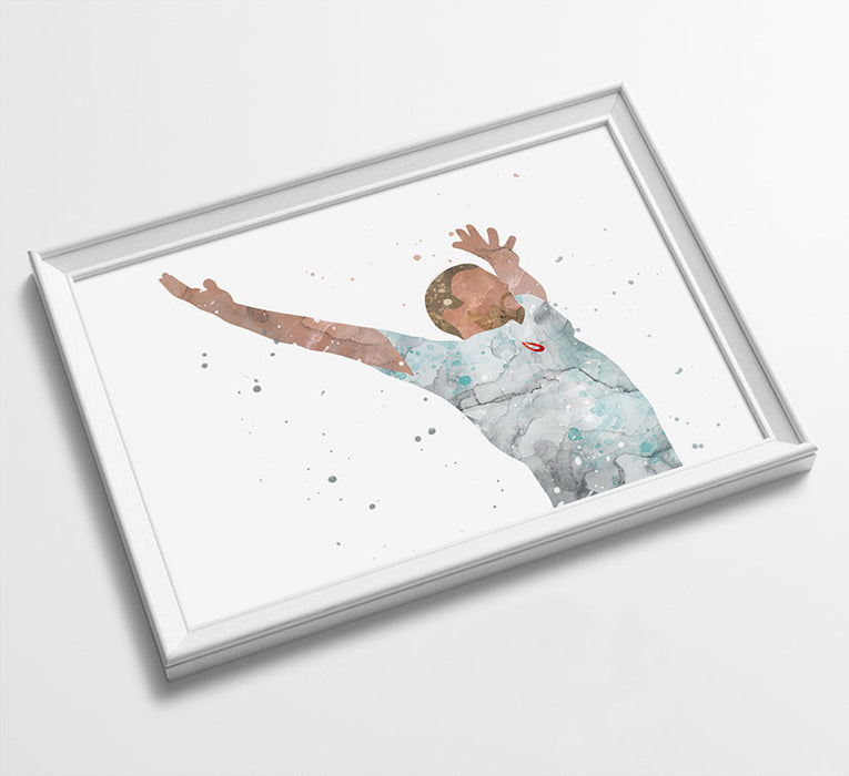 Freddy Flintoff Minimalist Watercolor Art Print Poster Gift Idea For Him Or Her | Cricket Print Poster Art