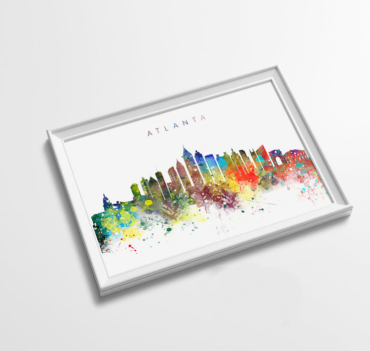 Atlanta Skyline Art Print  | Minimalist Watercolor Art Print Poster Gift Idea For Him Or Her | Wall Art | City Skyline | City Prints