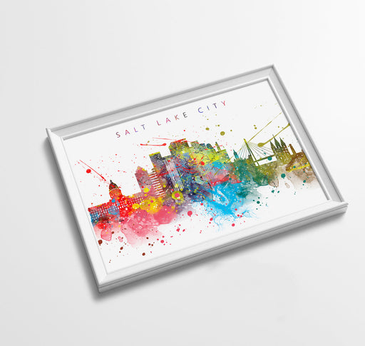 Salt Lake City Skyline Art Print  | Minimalist Watercolor Art Print Poster Gift Idea For Him Or Her | Wall Art | City Skyline | City Prints