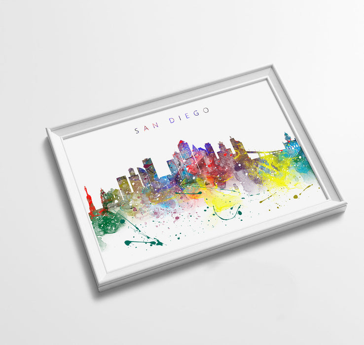 San Diego Skyline Art Print  | Minimalist Watercolor Art Print Poster Gift Idea For Him Or Her | Wall Art | City Skyline | City Prints