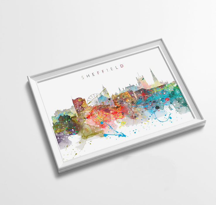 Sheffield Skyline Art Print  | Minimalist Watercolor Art Print Poster Gift Idea For Him Or Her | Wall Art | City Skyline | City Prints