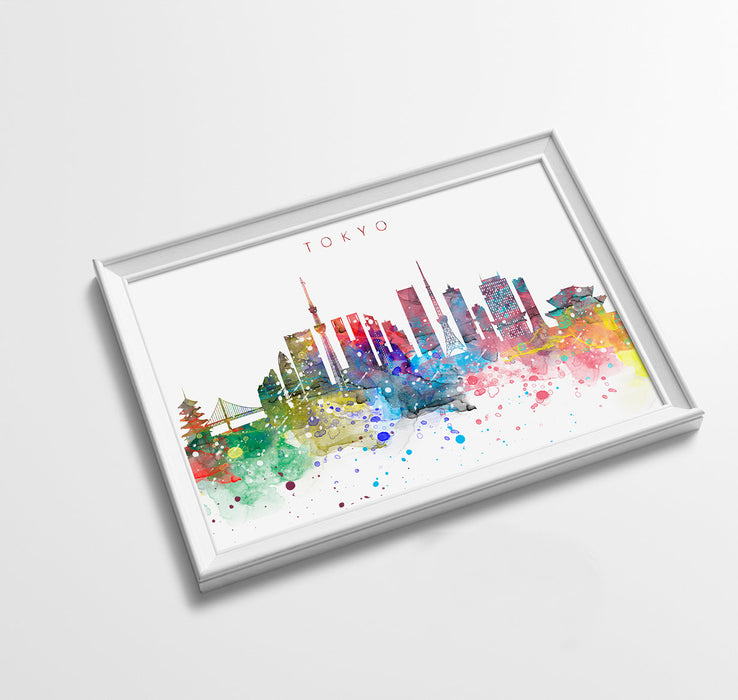 Tokyo Skyline Art Print  | Minimalist Watercolor Art Print Poster Gift Idea For Him Or Her | Wall Art | City Skyline | City Prints
