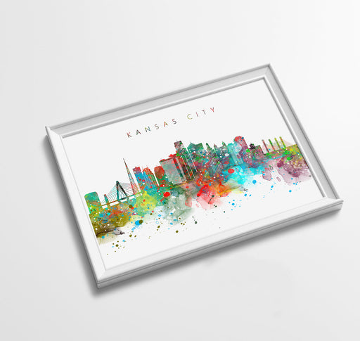 Kansas City Skyline Art Print  | Minimalist Watercolor Art Print Poster Gift Idea For Him Or Her | Wall Art | City Skyline | City Prints