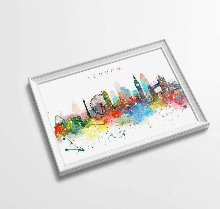London Skyline Art Print  | Minimalist Watercolor Art Print Poster Gift Idea For Him Or Her | Wall Art | City Skyline | City Prints