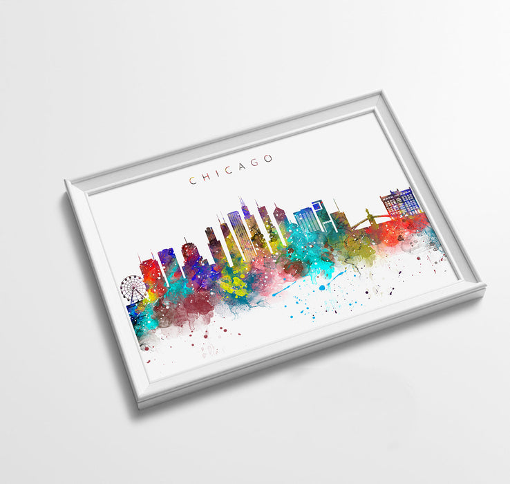 Chicago Skyline Art Print  | Minimalist Watercolor Art Print Poster Gift Idea For Him Or Her | Wall Art | City Skyline | City Prints