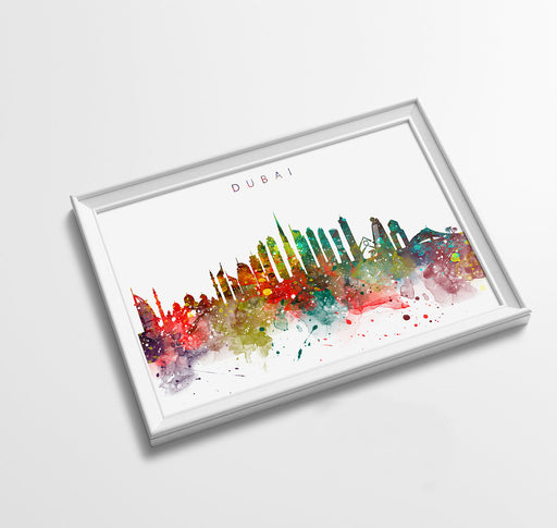 Dubai Skyline Art Print  | Minimalist Watercolor Art Print Poster Gift Idea For Him Or Her | Wall Art | City Skyline | City Prints