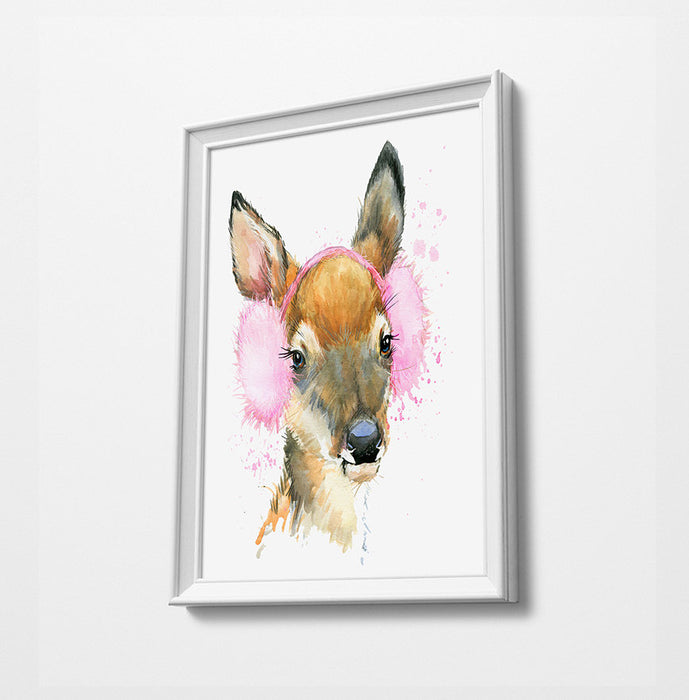 Deer Animal Minimalist Watercolor Art Print Poster Gift Idea For Him Or Her Music Poster
