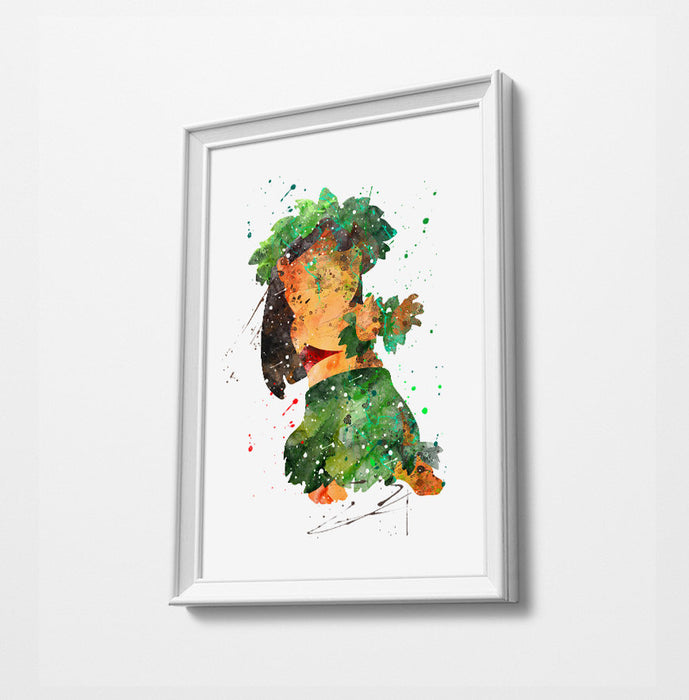 Minimalist Watercolor Art Print Poster Gift Idea For Him Or Her | Disney Prints | Lilo and Stitch Print Art Poster