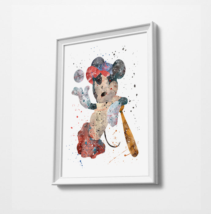Baseball Mickey | Minimalist Watercolor Art Print Poster Gift Idea For Him Or Her | Nursery Art | Gift for Baby |