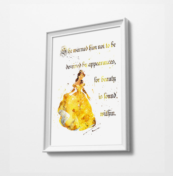 Beauty & The Beast Belle Quote | Minimalist Watercolor Art Print Poster Gift Idea For Him Or Her | Nursery Art | Disney Princess Prints