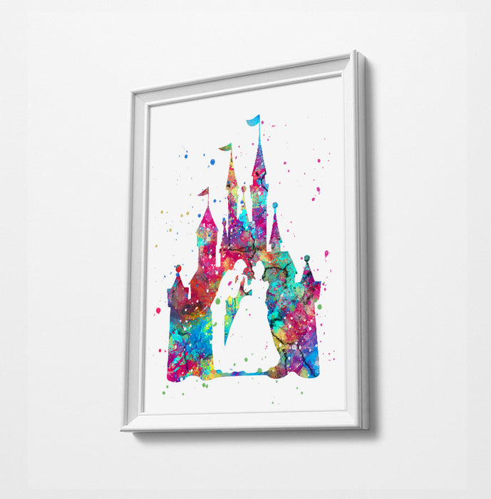 Cinderella Castle | Minimalist Watercolor Art Print Poster Gift Idea For Him Or Her |
