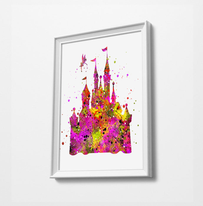 Pink Disney Castle with Tinkerbelle | Minimalist Watercolor Art Print Poster Gift Idea For Him Or Her |
