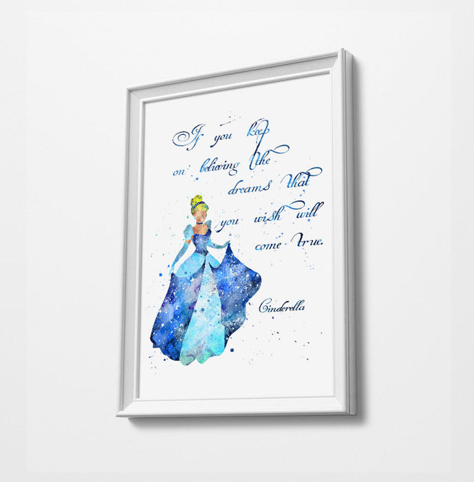 Cinderella Quote | Disney Princess Prints | Minimalist Watercolor Art Print Poster Gift Idea For Him Or Her | Nursery Art |