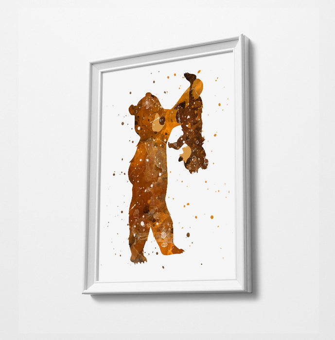 Brother Bear | Minimalist Watercolor Art Print Poster Gift Idea For Him Or Her | Nursery Art | Disney Prints