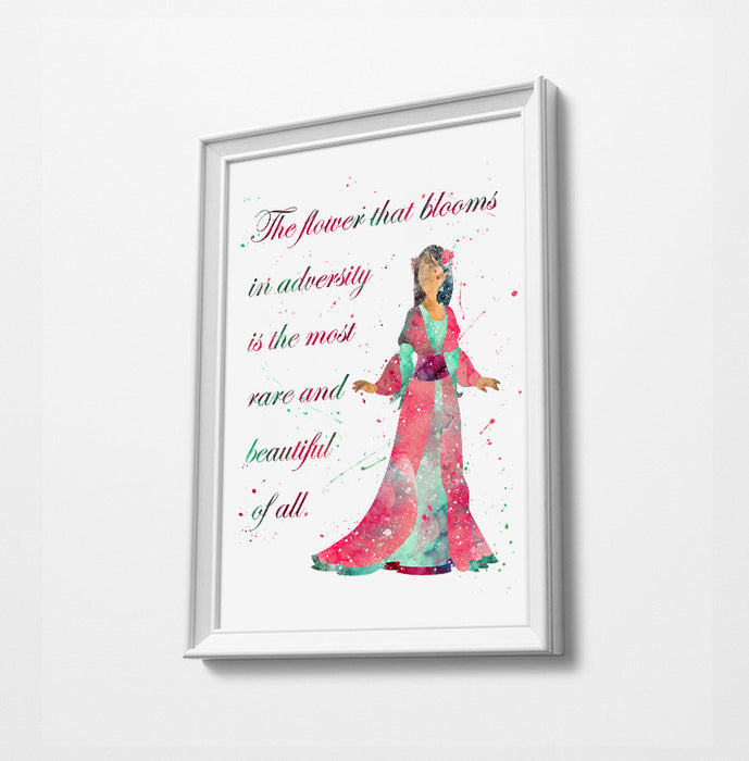 Mulan Double Exposure | Minimalist Watercolor Art Print Poster Gift Idea For Him Or Her | Nursery Art | Disney Prints