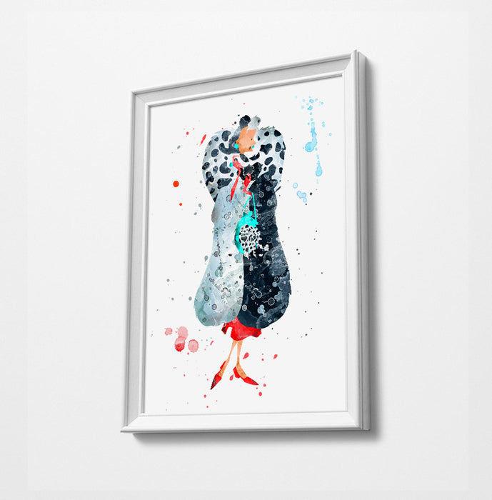 Cruella | Minimalist Watercolor Art Print Poster Gift Idea For Him Or Her | Nursery Art | Disney Prints