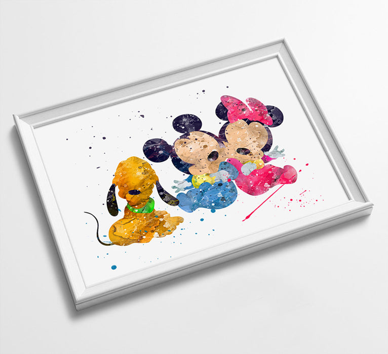 Baby Mickey & Minnie | Minimalist Watercolor Art Print Poster Gift Idea For Him Or Her | Nursery Art | Gift for Baby |