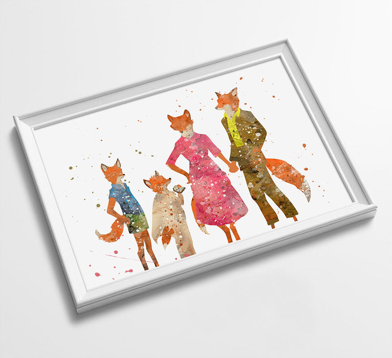 Mr Fox Family | Movie Minimalist Watercolor Art Print Poster Gift Idea For Him Or Her | Movie Artwork