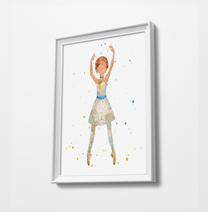 Ballerina Minimalist Watercolor Art Print Poster Gift Idea For Him Or Her