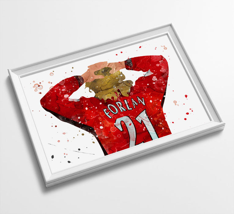 Classic Forlan Minimalist Watercolor Art Print Poster Gift Idea For Him Or Her | Football | Soccer