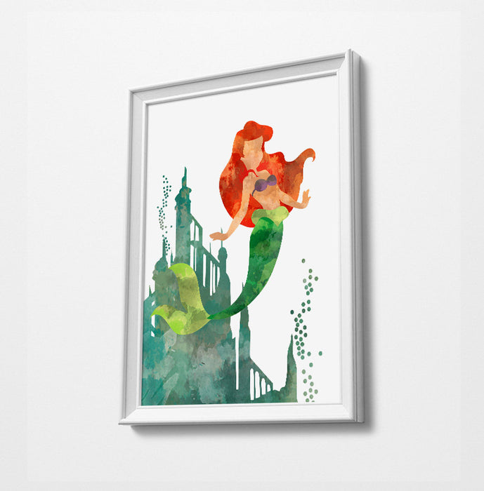 Ariel | Disney Princess Prints | Minimalist Watercolor Art Print Poster Gift Idea For Him Or Her | Nursery Art |