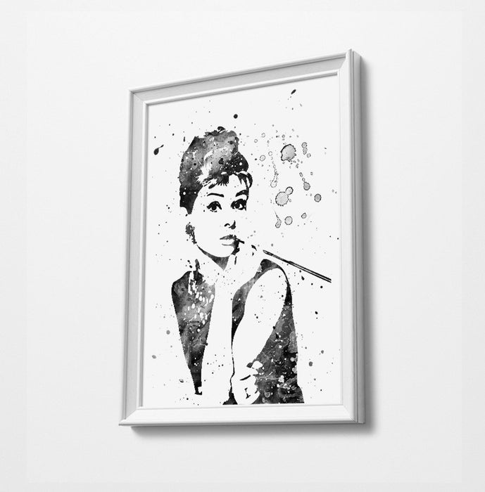 Audrey Minimalist Watercolor Art Print Poster Gift Idea For Him Or Her | Movie Artwork
