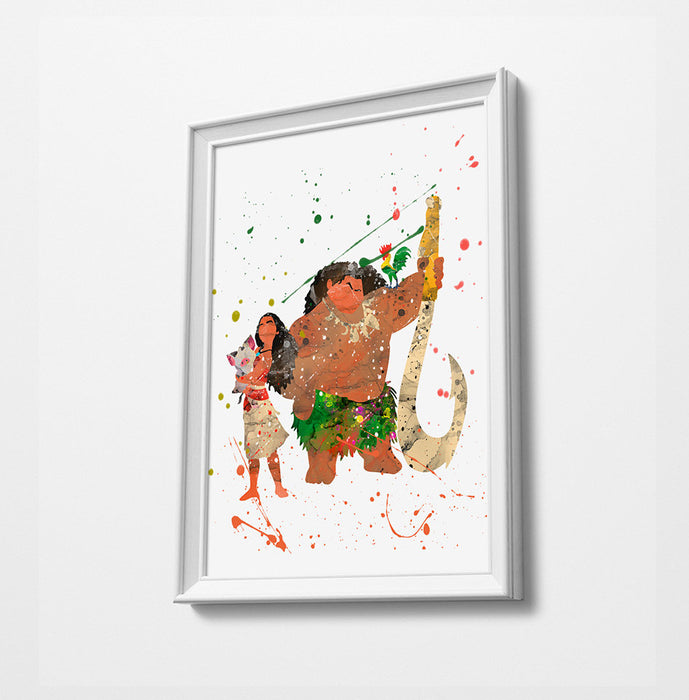Moana Maui | Minimalist Watercolor Art Print Poster Gift Idea For Him Or Her |