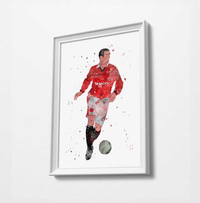 King Cantona | Minimalist Watercolor Art Print Poster Gift Idea For Him Or Her | Football | Soccer