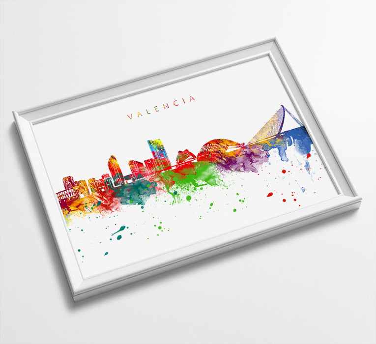 Valencia Skyline Art Print  | Minimalist Watercolor Art Print Poster Gift Idea For Him Or Her | Wall Art | City Skyline | City Prints