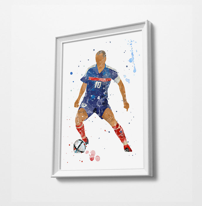 Classic Football Minimalist Watercolor Art Print Poster Gift Idea For Him Or Her | Football | Soccer