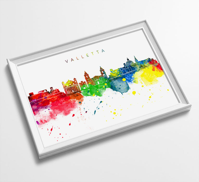 Valletta Skyline Art Print  | Minimalist Watercolor Art Print Poster | Gift Idea For Him Or Her | Wall Art | City Skyline | City Prints