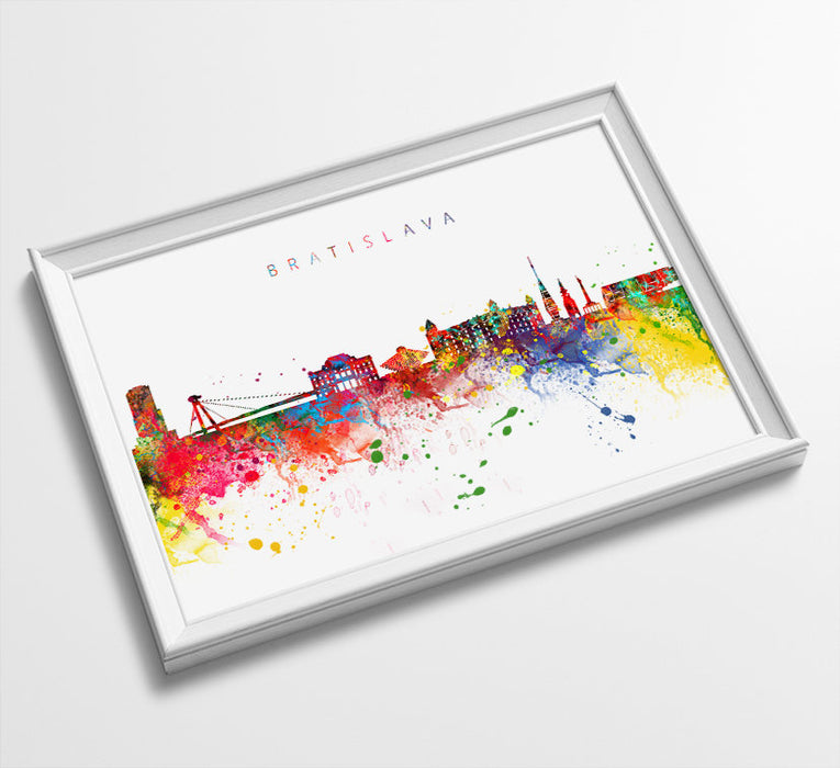 Bratislava Skyline Art Print  | Minimalist Watercolor Art Print Poster | Gift Idea For Him Or Her | Wall Art | City Skyline | City Prints