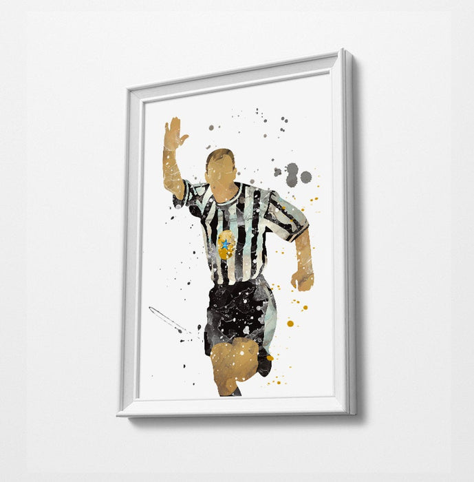 Classic Shearer Football Minimalist Watercolor Art Print Poster Gift Idea For Him Or Her | Football | Soccer