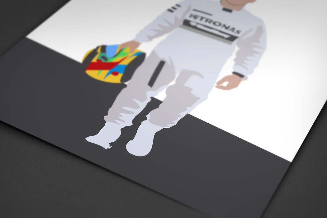Lewis F1 Artwork | Minimalist Art Print Poster Gift Idea For Him Canvas | Formula One Gift