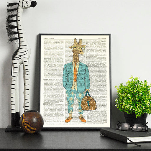 Dictionary Print \  #93 Giraffe In Suit \ Dictionary Art / Dictionary Page | Nursery Art | Vintage Poster | Gift for her | Gift for Mum