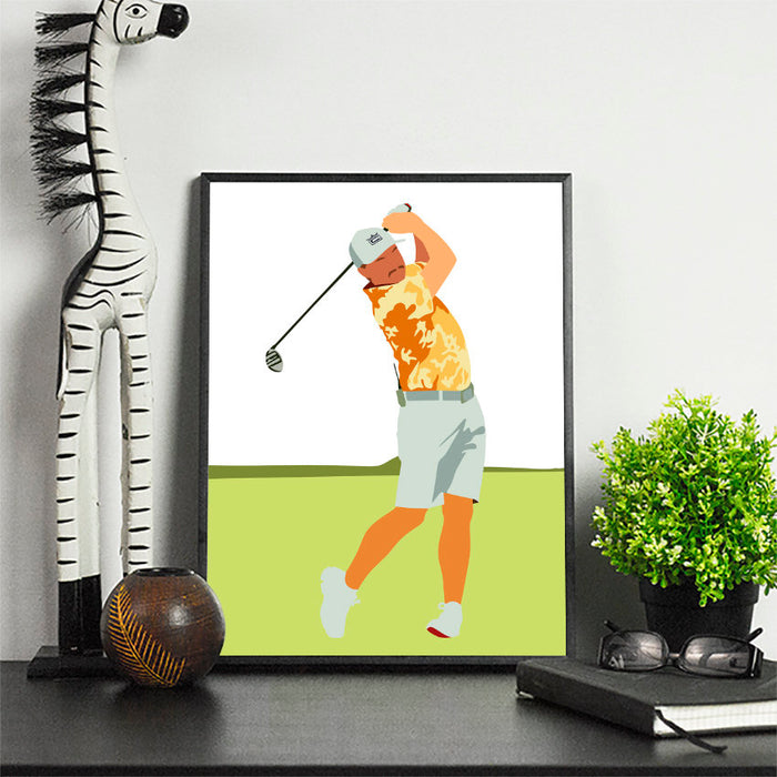 Rickie Golf Artwork | Minimalist Art Print Poster Gift Idea For Him | Golf Print | Golfer | Gift for Husband Boyfriend