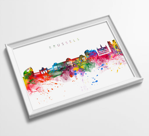 Brussels Skyline Art Print  | Minimalist Watercolor Art Print Poster Gift Idea For Him Or Her | Wall Art | City Skyline | City Prints