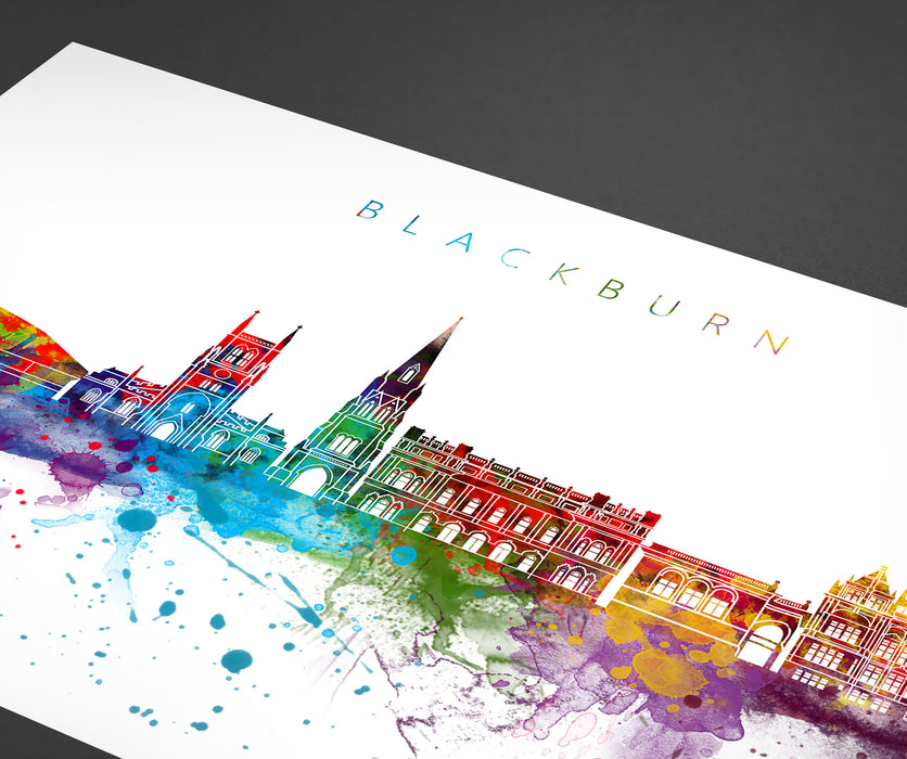 Blackburn Skyline Art Print  | Minimalist Watercolor Art Print Poster Gift Idea For Him Or Her | Wall Art | City Skyline | City Prints