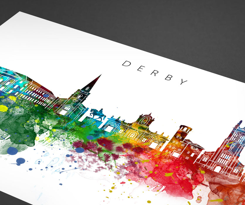 Derby Skyline Art Print  | Minimalist Watercolor Art Print Poster Gift Idea For Him Or Her | Wall Art | City Skyline | City Prints